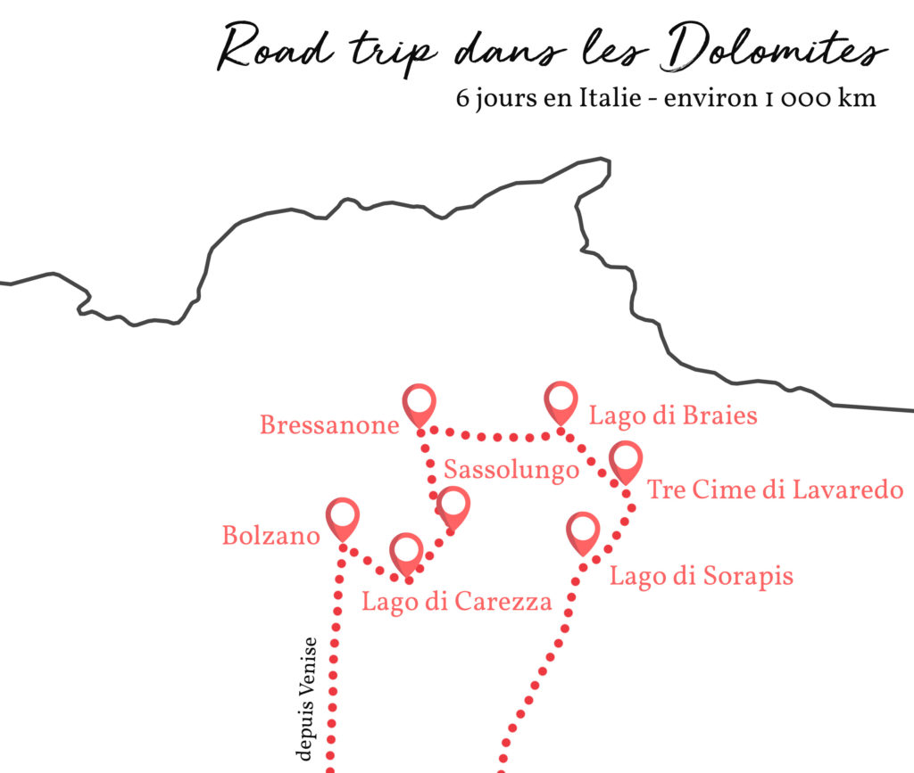 itinéraire dolomites