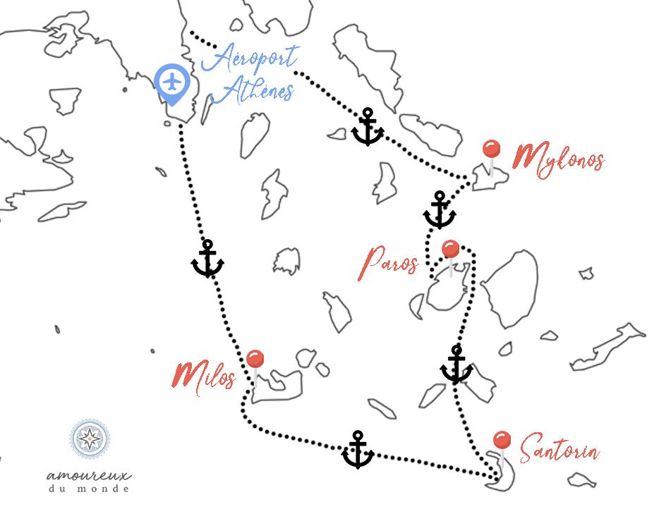 itinéraire 2 semaines dans les cyclades